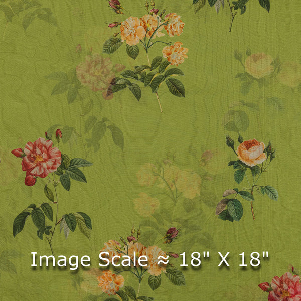 Poly Organza Shamrock Green Colour 45 inches Width Digital Floral Print Fabric