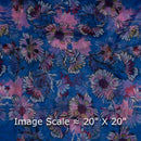 Poly Organza Cadet Blue Colour 45 inches Width Digital Floral Print Fabric