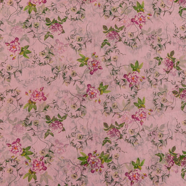 Poly Organza Pink Colour Digital Floral Print Fabric