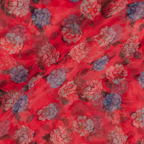 Poly Organza Red Colour Digital Floral Print Fabric