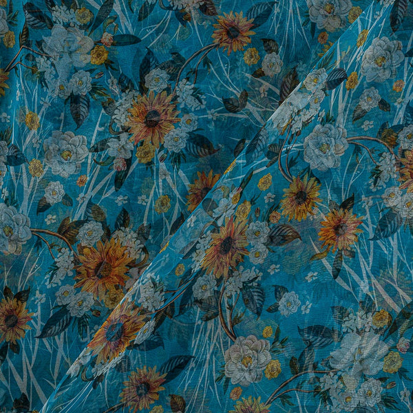 Poly Organza Ocean Blue Colour 45 Inches Width Digital Floral Jaal Print Fabric