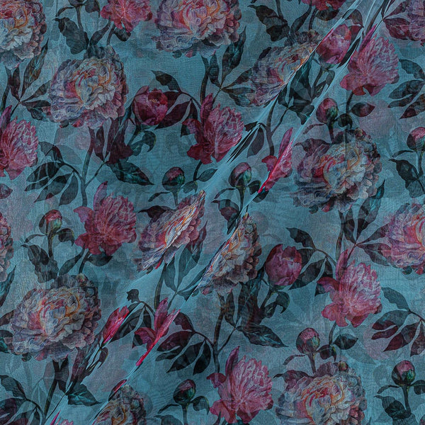Poly Organza Light Blue Colour 45 Inches Width Digital Floral Print Fabric