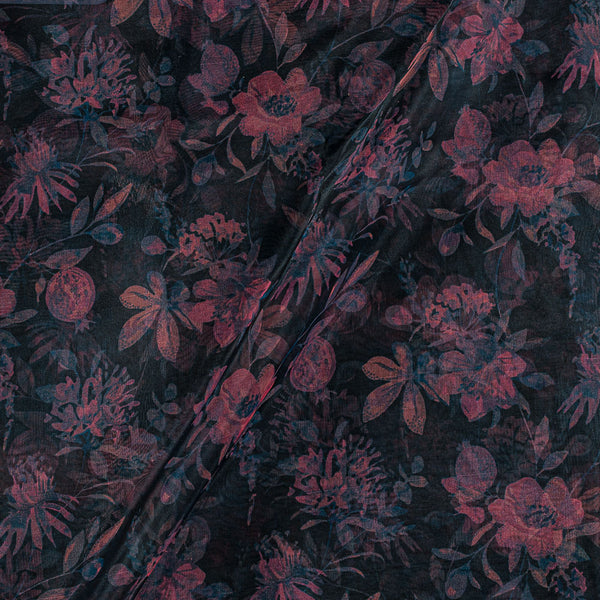 Poly Organza Black Colour 45 Inches Width Digital Floral Print Fabric