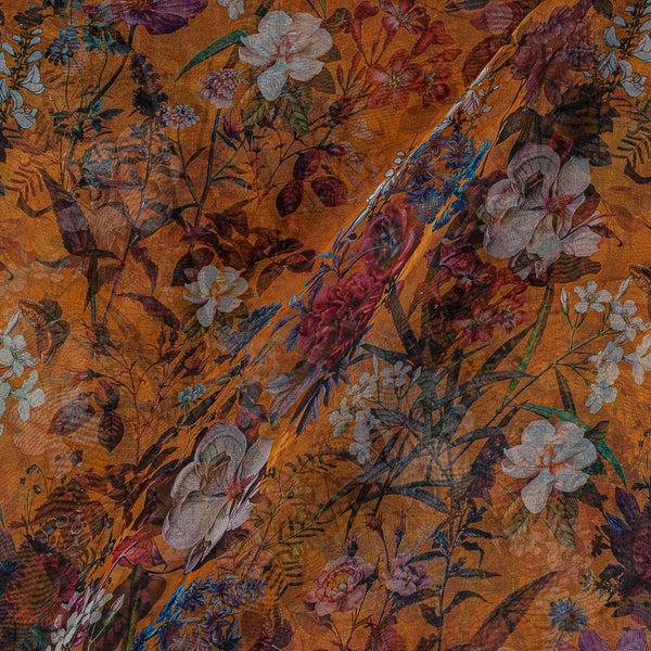 Poly Organza Mustard Orange Colour 45 Inches Width Digital Floral Jaal Print Fabric