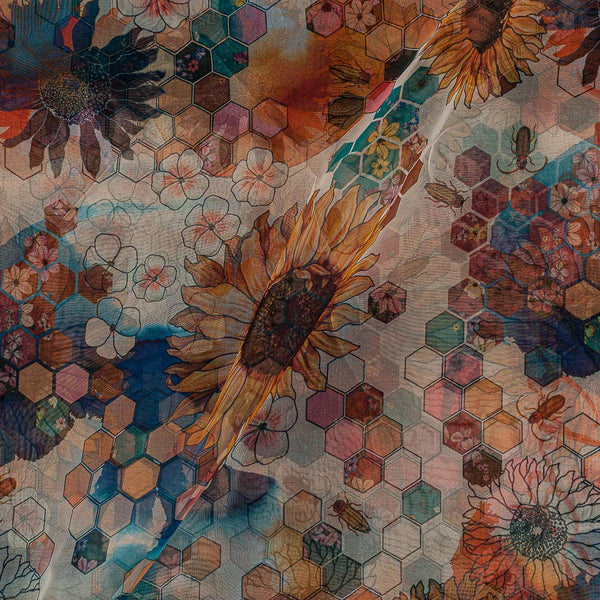 Poly Organza Multi Colour 45 Inches Width Digital Floral Print Fabric