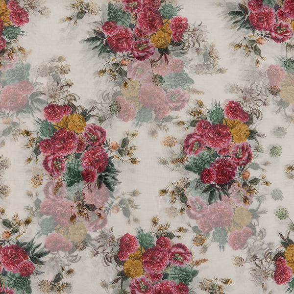 Poly Organza White Colour 45 Inches Width Digital Floral Print Fabric