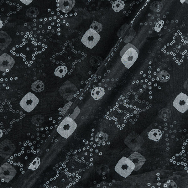 Poly Organza Black Colour 43 Inches Width Bandhani Print Fabric