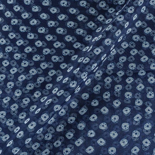 Poly Organza Navy Blue Colour 43 Inches Width Bandhani Print Fabric