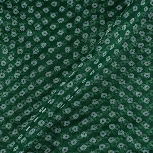Poly Organza Dark Green Colour 43 Inches Width Bandhani Print Fabric