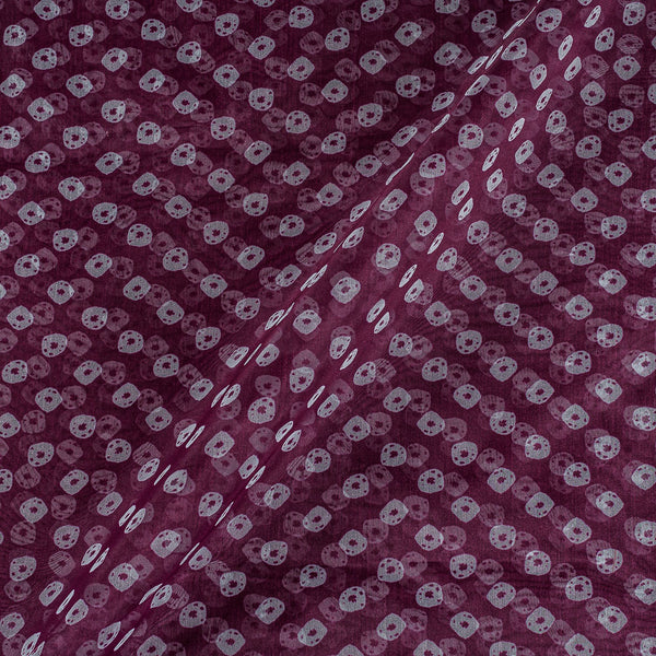 Poly Organza Plum Colour 43 Inches Width Bandhani Print Fabric