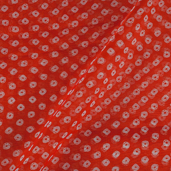 Poly Organza Fanta Ornage Colour 43 Inches Width Bandhani Print Fabric