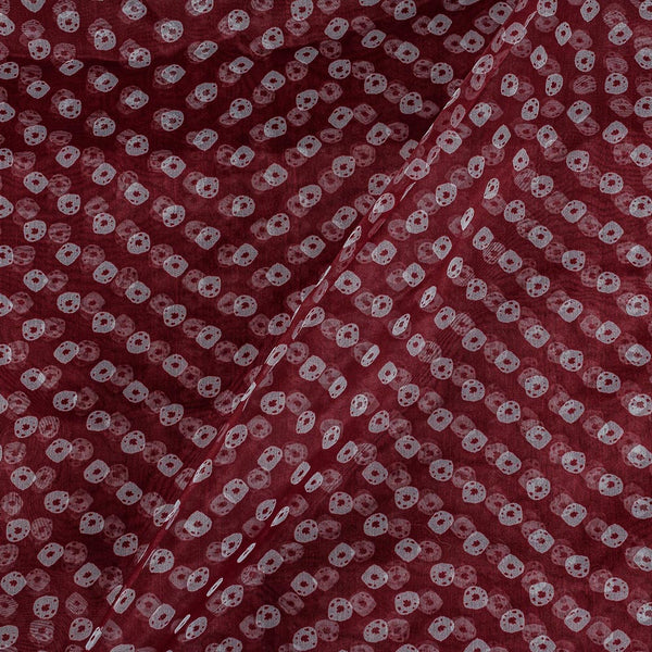 Poly Organza Maroon Colour 43 Inches Width Bandhani Print Fabric