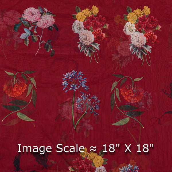 Poly Organza Red Colour 45 Inches Width Digital Floral Print Fabric