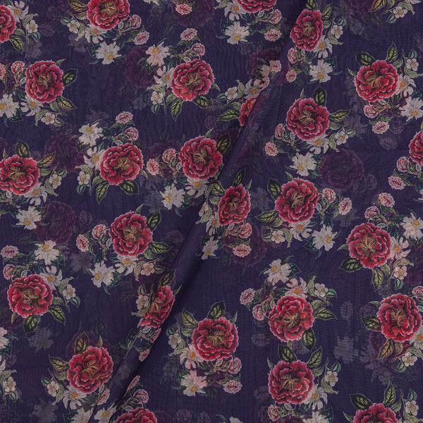 Poly Organza Deep Blue Colour 45 Inches Width Digital Floral Print Fabric
