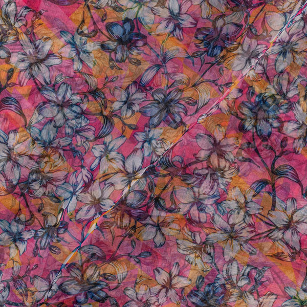 Poly Organza Pink Color 45 Inches Width Digital Floral Print Fabric
