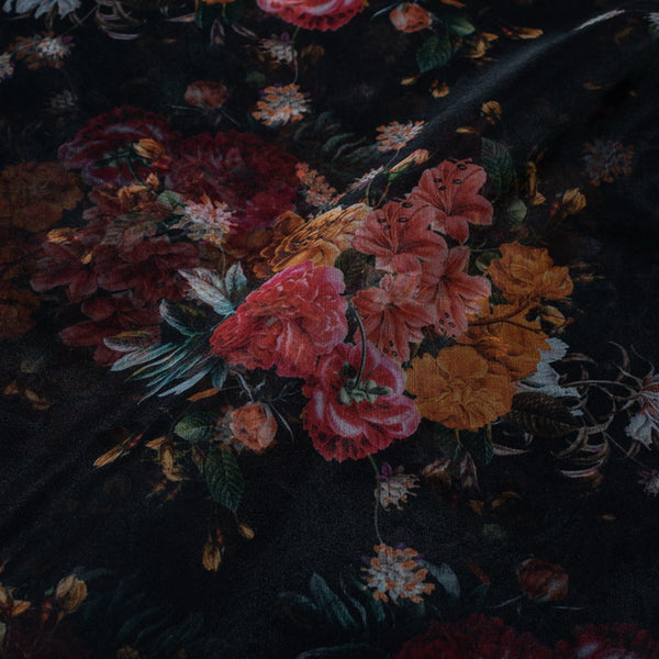 Poly Organza Black Color 45 Inches Width  Digital Floral Print Fabric