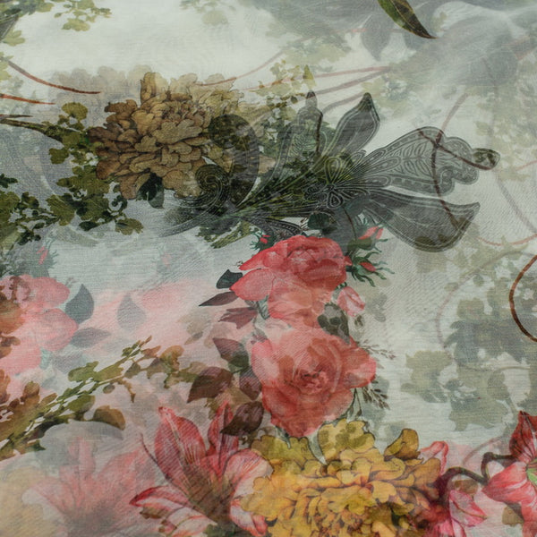 Off White Colour Digital Floral Print Semi Organza FabricPoly Organza Off White Colour 45 Inches Width Digital Floral Print Fabric