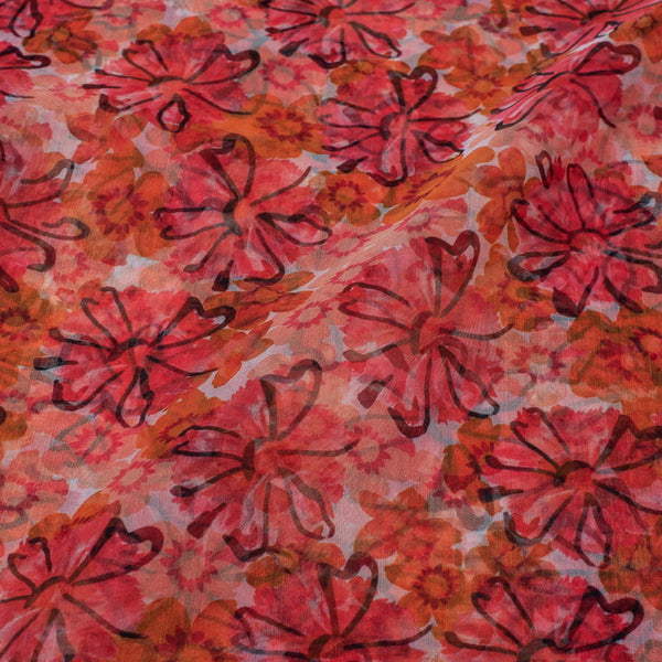 Multi Colour Digital Floral Print Semi Organza Fabric