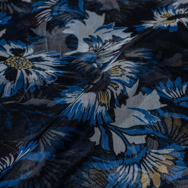 Polyester Organza Black Colour 45 inches Width Digital Floral Print Fabric