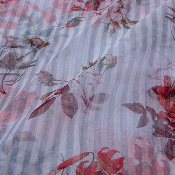 Polyester Organza Digital Floral & Stripes Print Fabric