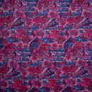 Candy Pink Colour Floral Print Poly Chanderi Fabric