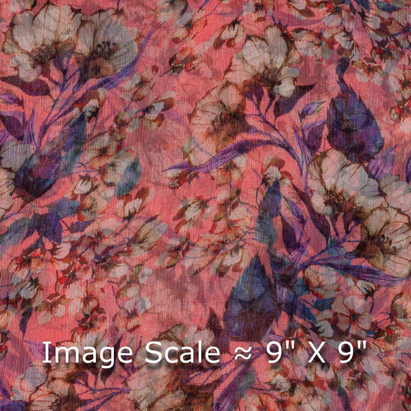 Viscose Chiffon Pink Colour 40 Inches Width Digital Print Fabric