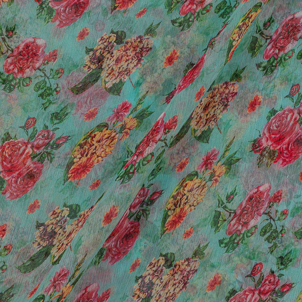 Viscose Chiffon Aqua Marine Colour Digital Floral Print Fabric