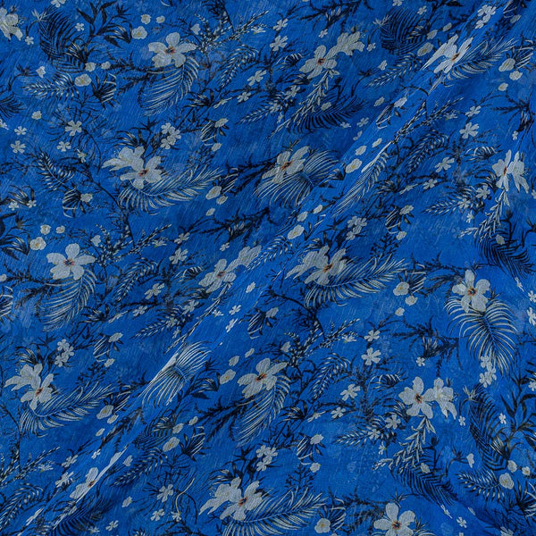 Viscose Chiffon Deep Blue Colour Digital Floral Print Fabric