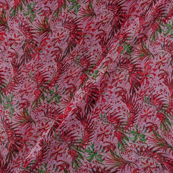 Viscose Chiffon Light Pink Colour Digital Floral Jaal Print Fabric