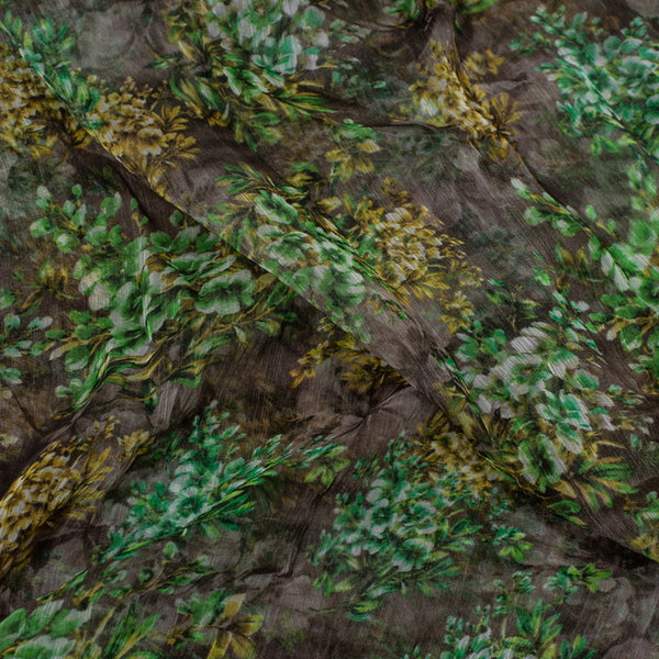 Cedar Colour Digital Floral Print Viscose Chiffon Fabric