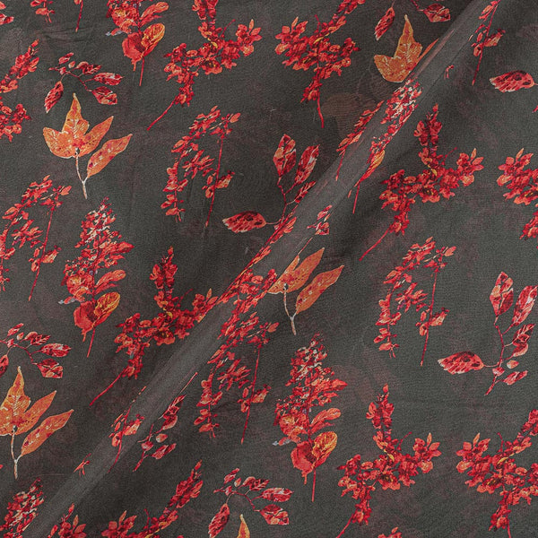 Viscose Georgette Cedar Color Digital Floral Jaal Print Fabric