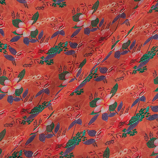 Viscose Georgette Brick Color Digital Floral Jaal Print Fabric