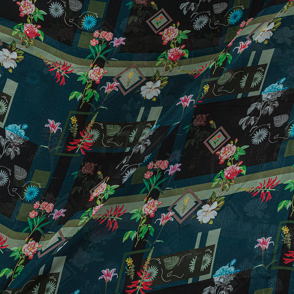 Viscose Georgette Teal Color Digital Floral Print Fabric