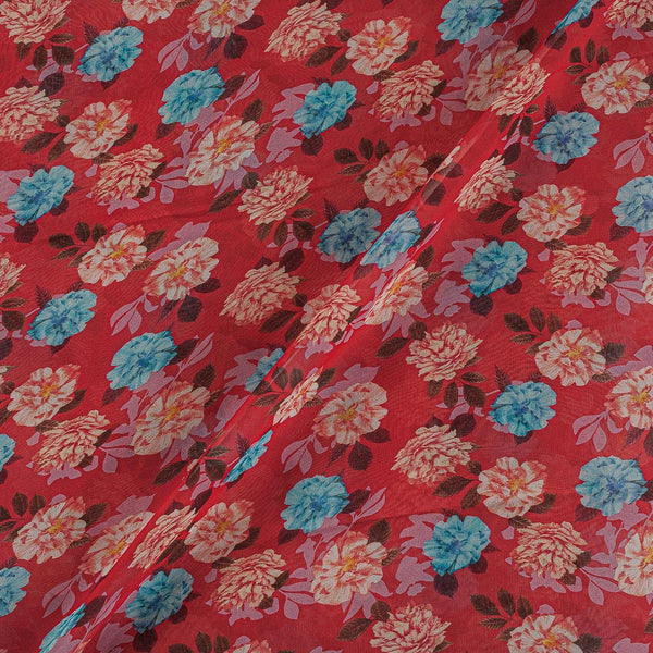 Viscose Georgette Carrot Color Digital Floral Print Fabric