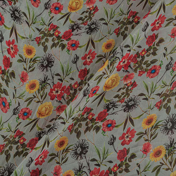 Viscose Georgette Ash Grey Color Digital Floral Jaal Print Fabric