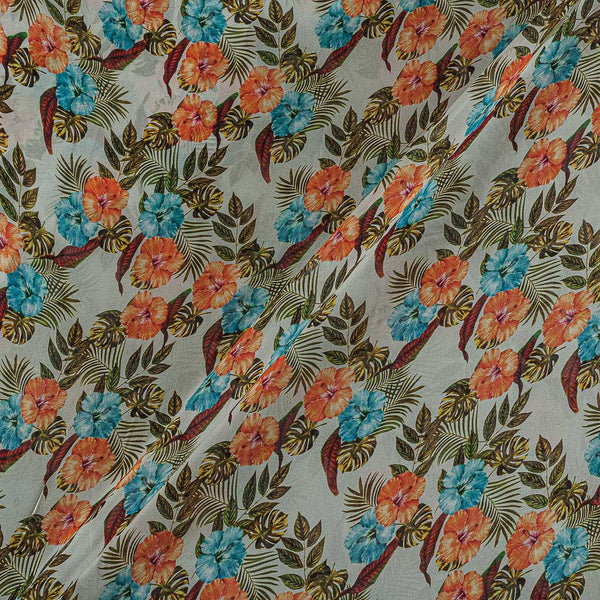 Viscose Georgette Off White Color Digital Floral Print Fabric