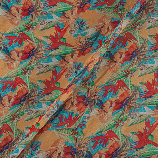 Viscose Georgette Butterscotch Color Digital Floral Jaal Print Fabric