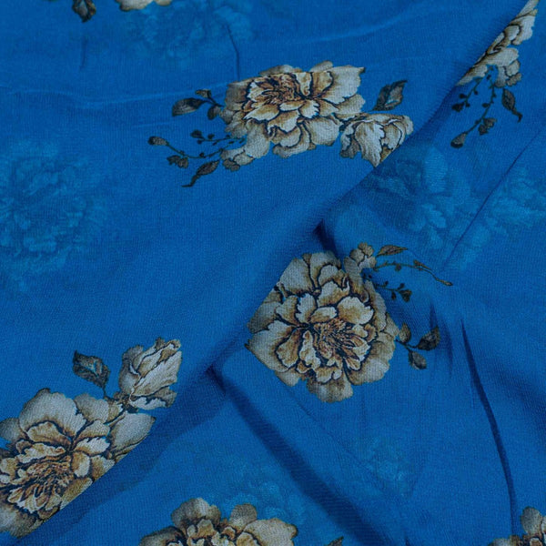 Blue Color Digital Floral Print 41 inches Width Viscose Georgette Fabric