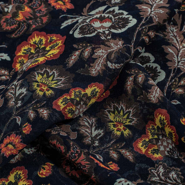 Black Color Digital Floral Jaal Print 41 inches Width Viscose Georgette Fabric