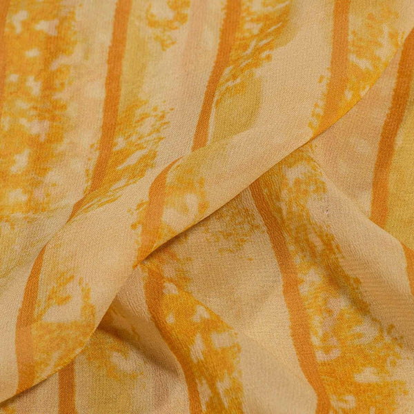 Yellow Color Digital Geometric Print 41 inches Width Viscose Georgette Fabric