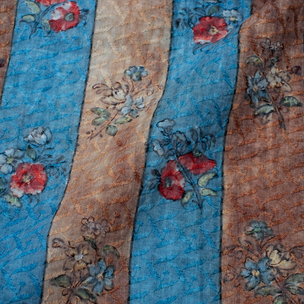 Blue and Brown Colour Digital Floral Print Chikankari Poly Cotton Fabric