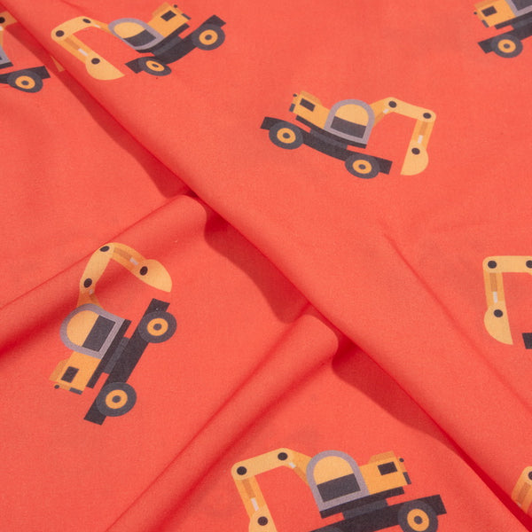 Tangerine Orange Digital Quirky Print Rayon Fabric