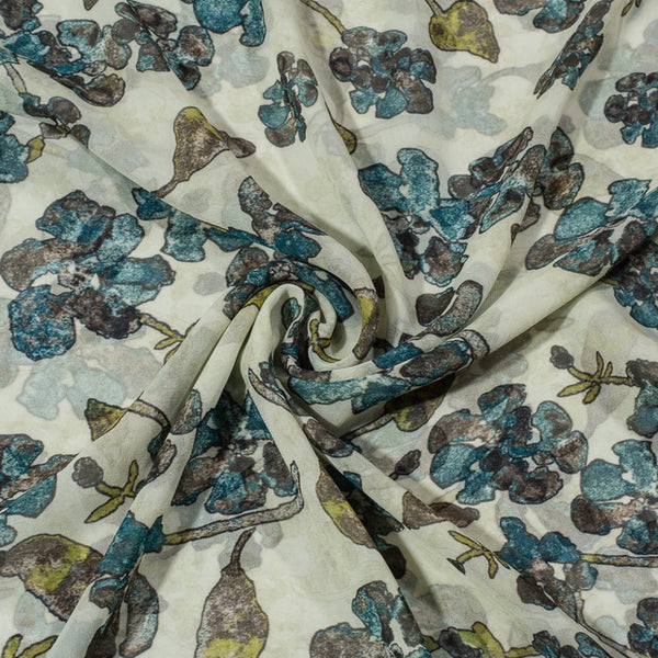 Off White Colour Floral Jaal Print Poly Georgette Fabric