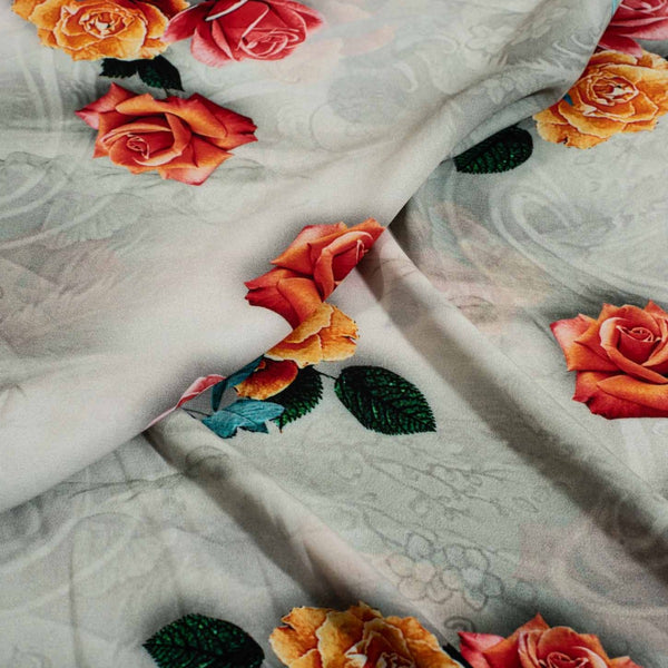 Off White Colour Digital Floral Print Flowy Fiona Polyester Fabric