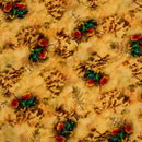 Mustard Yellow Colour Digital Leaves Print Flowy Fiona Polyester Fabric