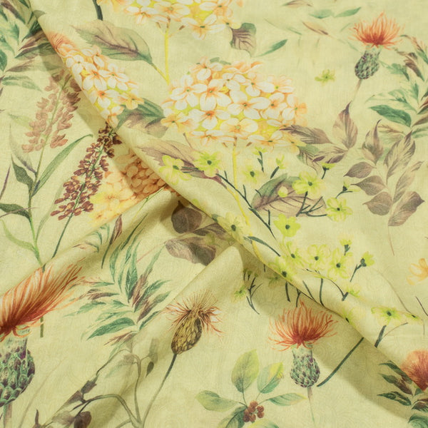 Pale Yellow Colour Digital Floral Print Maska Cotton Type and Feel Poly Fabric