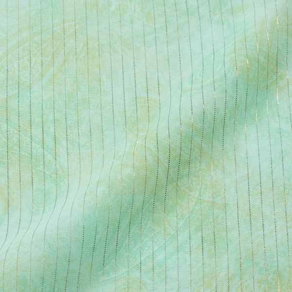 Pastel Mint Colour Stripes Organza Feel Polyester Fabric