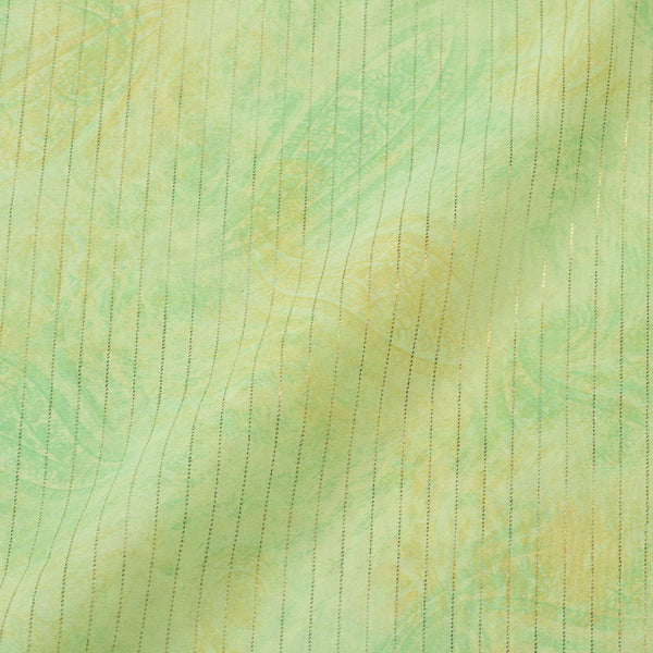 Pastel Green Colour Stripes Organza Feel Polyester Fabric
