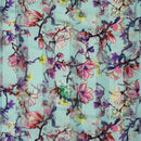 Polyester Sky Colour Floral Jaal Print Fabric