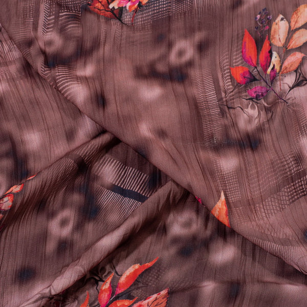 Brown Colour Digital Floral Print Fancy Crush Poly Fabric